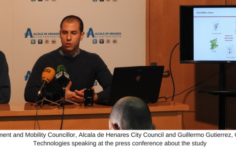 Alberto Egido, Environment and Mobility Councillor, Alcala de Henares City Council and Guillermo Gutierrez, Geospatial Specialist, IIC Technologies speaking at the press conference about the study