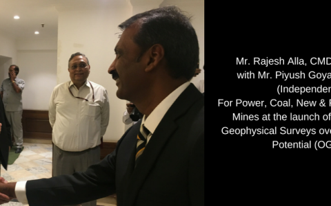 Mr. Rajesh Alla, CMD, IIC Technologies with Mr. Piyush Goyal, Minister of State (Independent charge) For Power, Coal, New & Renewable energy and Mines at the inaugural of Multi-Sensor Aero-Geophysical Surveys over Obvious Geological Potential (OGP) Areas.